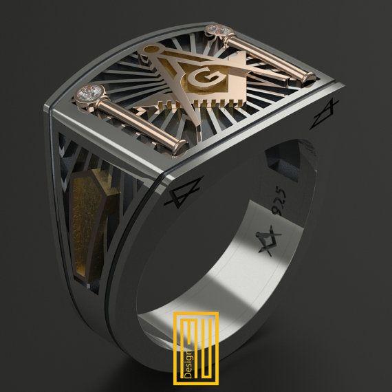 Diseño único de anillo masónico para hombres por MuDesignJewelry