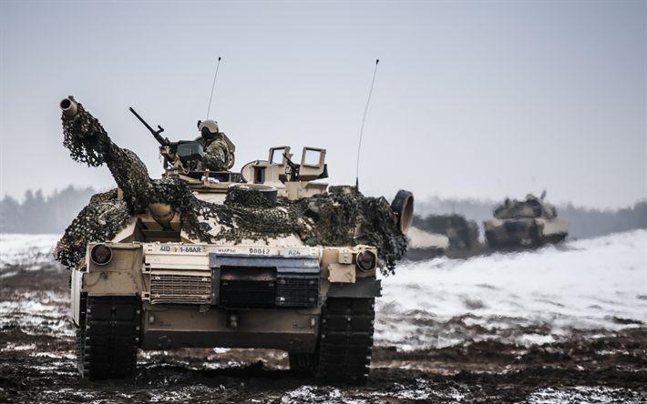 Descargar fondos de pantalla M1 Abrams, tanque Norteamericano, modernos vehículos blindados, rango, Ejército de los EEUU