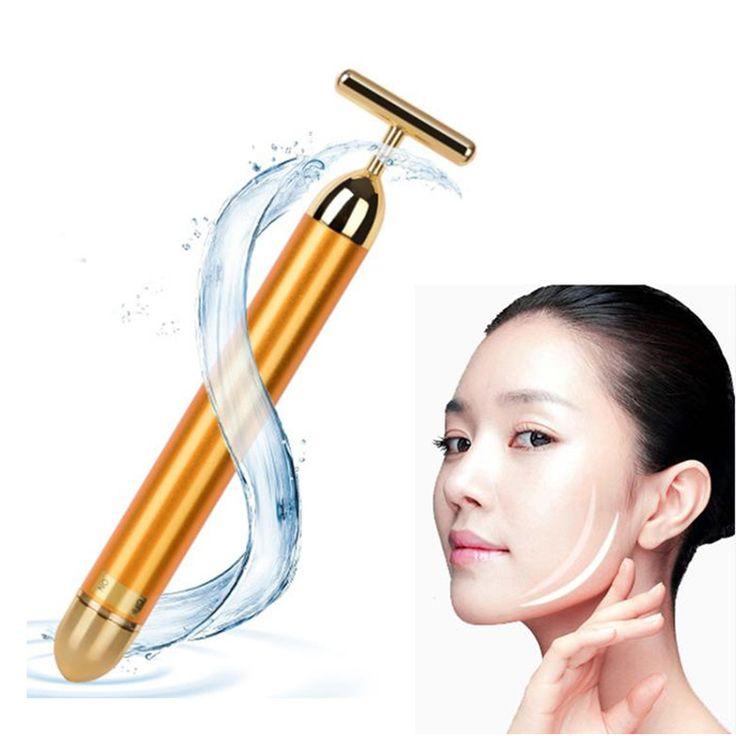 Beemyi 24K Gold Mini Massage Device Electric Eye Massager Facial Vibration Thin Face Magic Stick Anti Bag Pouch Wrinkle Pen