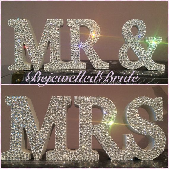 White Wooden Mr & Mrs Sign Customised with by BejewelledBride