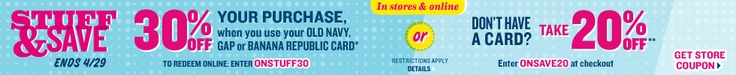 20% off for non-cardholders and 30% off for cardholders at Old Navy!