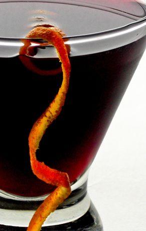 Sumptuous Scofflaw Cocktail - Bulliet Rye Whiskey, Dry Vermouth, Lemon Juice, Sumptuous Black Currant Syrup, Uban Moonshine Original Bitters, Flamed Orange Peel