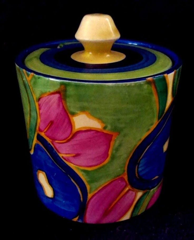 Clarice Cliff Bizarre  Blue Chintz  Barrel Preserve pot