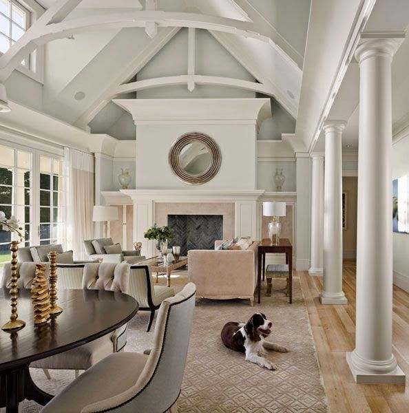 I Like The Concept Of Having The Living Room Dining Room: Beautiful Transitional White And Off White Traditional