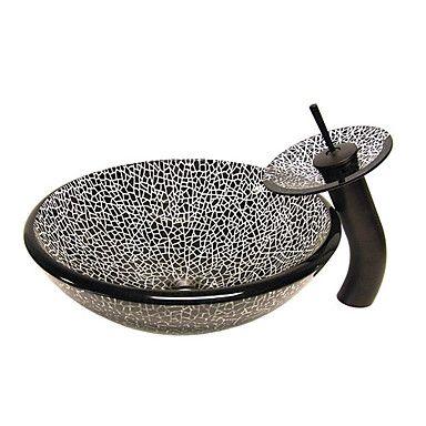 Zwarte Gebarsten Style gehard glazen vat zinken met waterval kraan, montage en water afvoer – EUR € 235.12