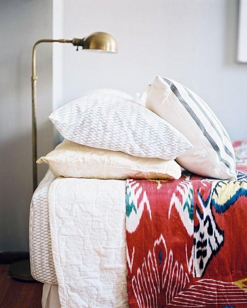 /./././.Guest Room, House Design, Brass Lamps, Bedrooms Design, Interiors Design, Textiles, Beds Room, Bedrooms Decor, Lonny Magazine