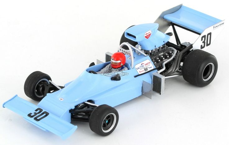 The Amon Ford AF1 as entered in the 1974 German GP Practice for Larry Perkins. Larry failed to make to qualify..  A fine Spark 1:43 scale model supplied in the customary showcase.