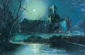 Old Kirkstall Abbey, suitably ghostly by moonlight, as viewed by John from Theo Ibbetson's unpredictable sword-point