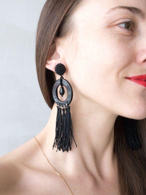 Fringed clip-on earrings ideal form beaded top от MyBeadsJewelry