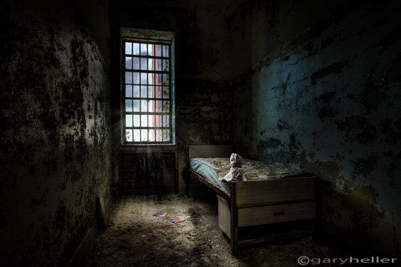 Old Room with Bed Abandoned Building by garyhellerphotograph, $39.00