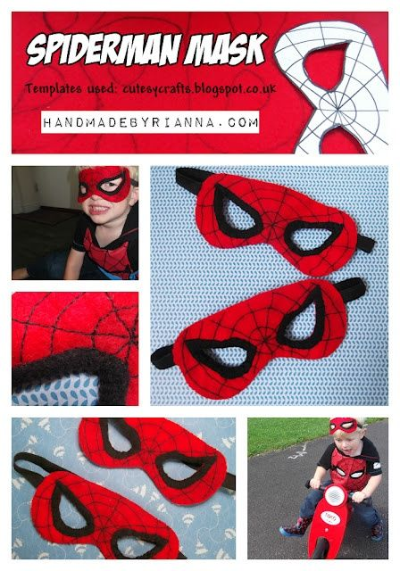 Spiderman felt mask D.I.Y- sew or use black sharpie for web. Black elastic for band, sown in