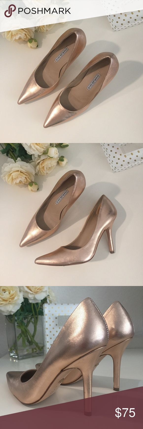 CHARLES DAVID Rose Gold Pumps, Size 6 Gorgeous and comfortable pumps in the season's trendy rose gold color, looks amazing on all skin tones! Heel height approx 4 in. Worn ONCE with expected scuffing to soles and minor signs of wear/scuffing elsewhere (see photos); these are not very noticeable. Includes box. Fits true to size. Retails for $230 plus tax. PRICE FIRM Charles David Shoes Heels