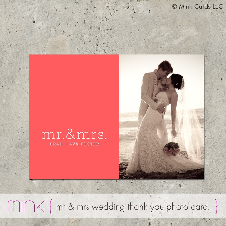 free online printable wedding thank you cards%0A wedding thank you photo card announcement    Mr  u     Mrs
