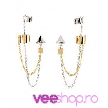 Cercei tip ear cuff, model cu lanturi duble si prisma, prindere dubla pe ureche