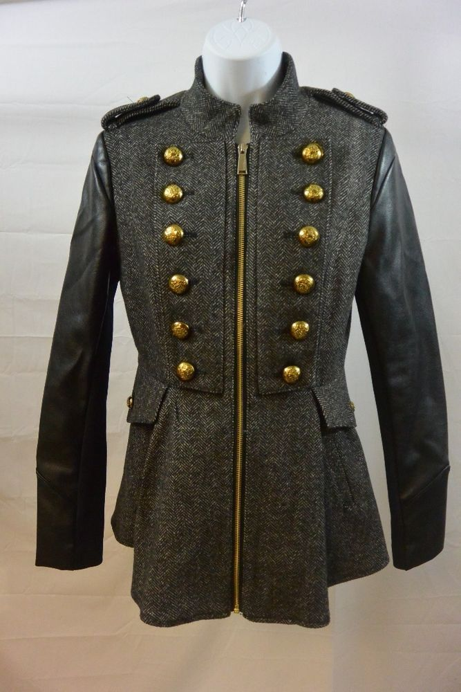 BCBGeneration Tweed & Faux Leather Military Jacket Size XS #BCBG #jacket