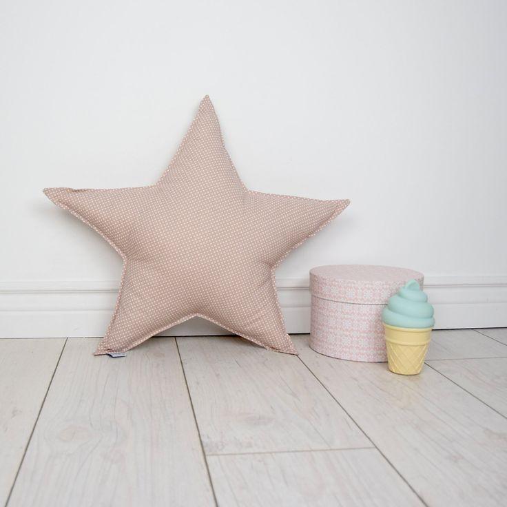 Pillow Cushion Softie Kids Girl Boy- Big star powder beige by MamaPotrafi on Etsy