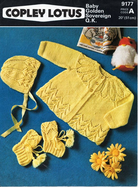Baby Knitting Pattern Baby Matinee Coat Bonnet Bootees Baby Set Baby Matinee Jacket 20 inch DK Baby Knitting Patterns PDF Instant