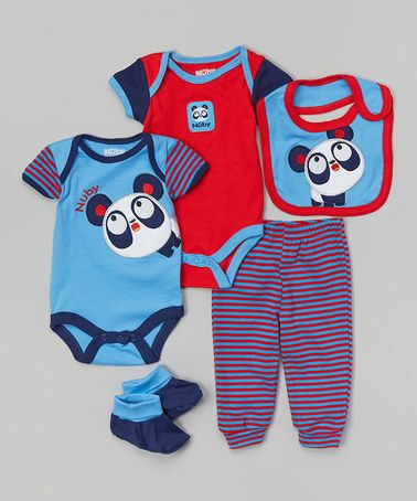 This Blue & Red Panda Layette Set - Infant by Nûby is perfect! #zulilyfinds