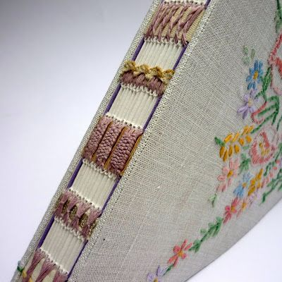 Kate Bowles Books : closeup of stitching on heart shaped book
