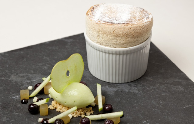 Gingerbread soufflé with granny smith apple sorbet - Simon Haigh