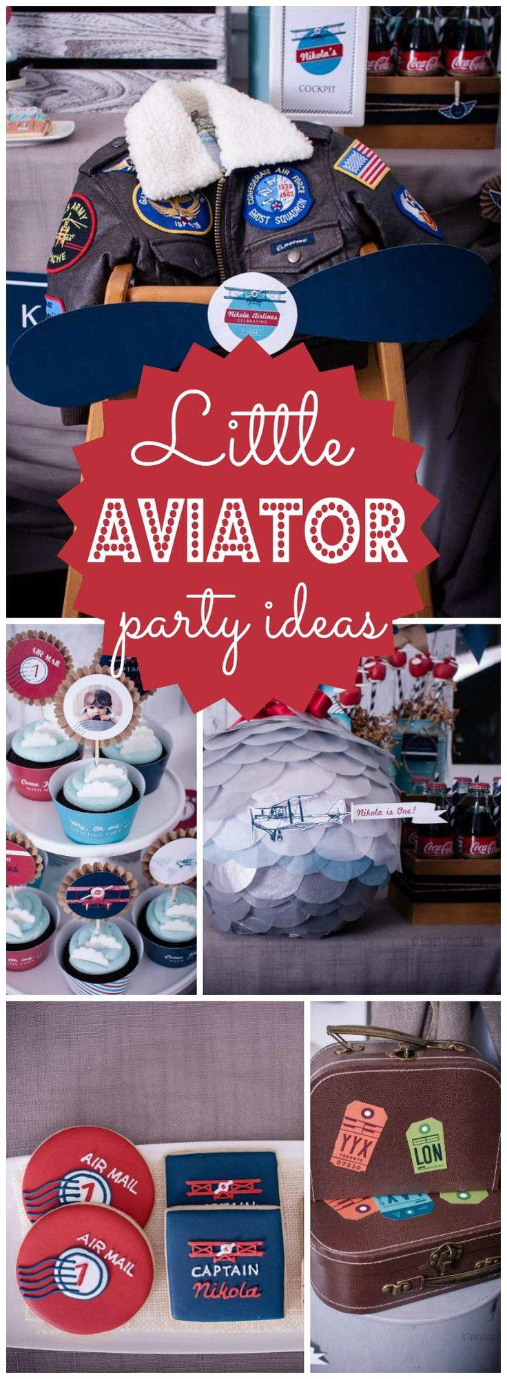 You have to see this amazing aviator party for a first birthday! See more party ideas at CatchMyParty.com!