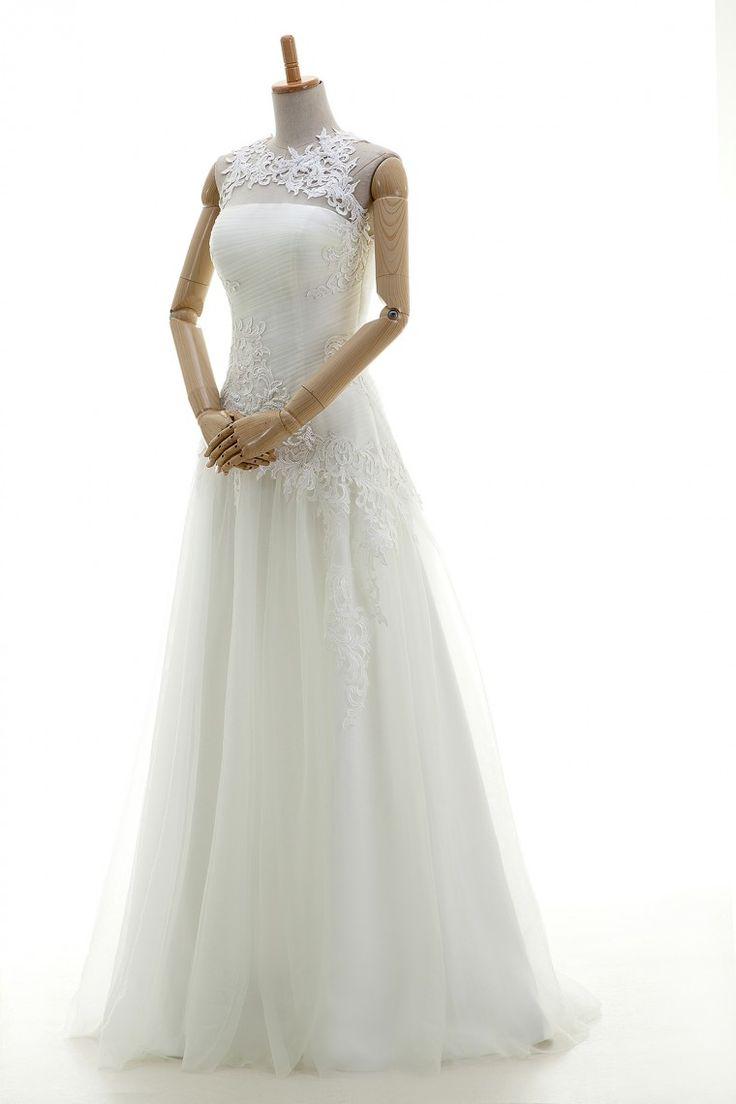 ウェディングドレス スレンダー ラウンドネック レース チュール アイボリー オーダードレス 二次会ドレス B14P2A042 価格 ¥60,480