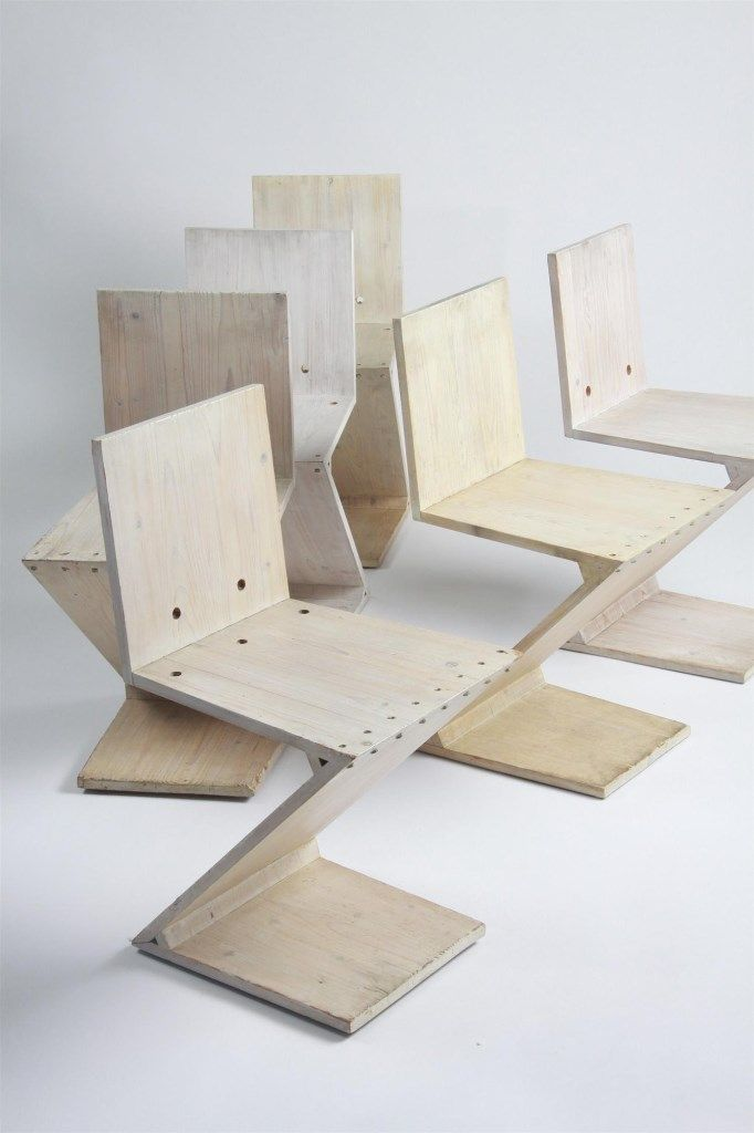 Zig Zag chairs, designed by Gerrit Rietveld for G. A. van de Groenekan, Holland. 1934.These examples from around 1960. Material stained pin...