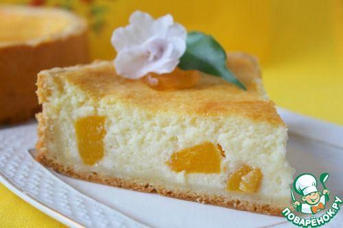 """Нежнейший творожный пирог с персиками """"Светланка"""" - кулинарный рецепт"""