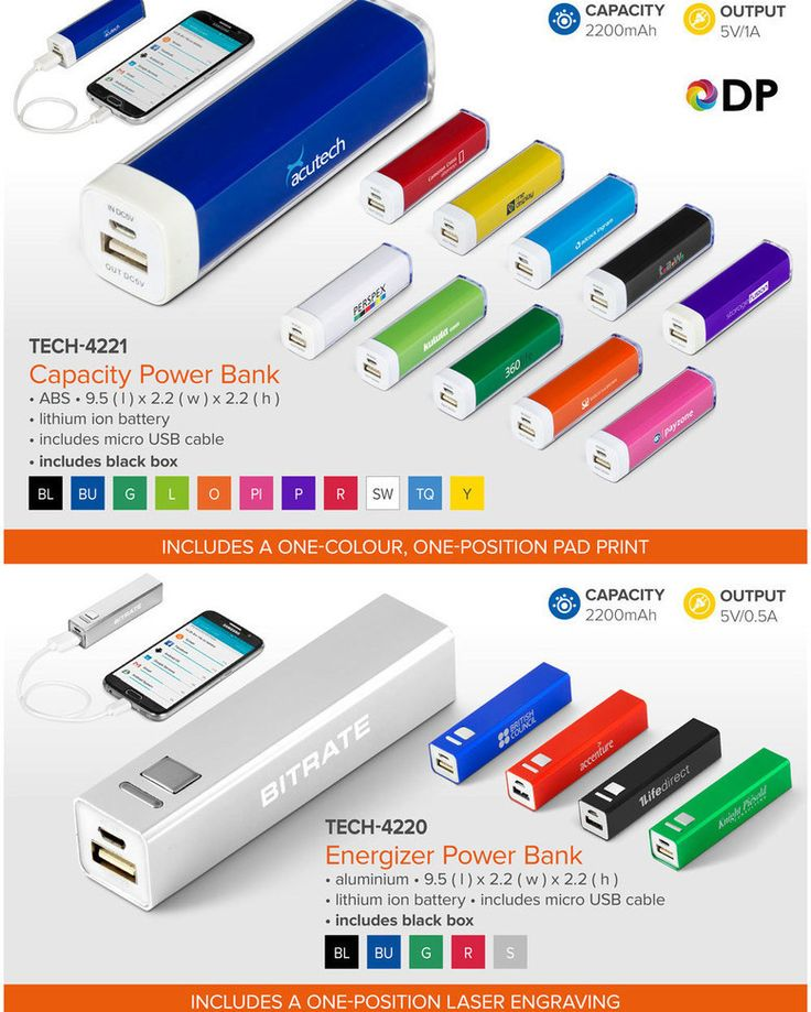 Best Branding offers an amazing Power Bank Special  For this month only, we are offering our Energizer and Capacity Power Banks at incredibly low prices, available in the colours featured above.  These fantastic Power Banks are sure to go fast so get your orders in now, while stocks last.  Additionally, the price of each of these power banks include the branding method indicated in the table below.  This special is valid until the 29 July 2017. TECH-4221Capacity Power Bank-one-colour…