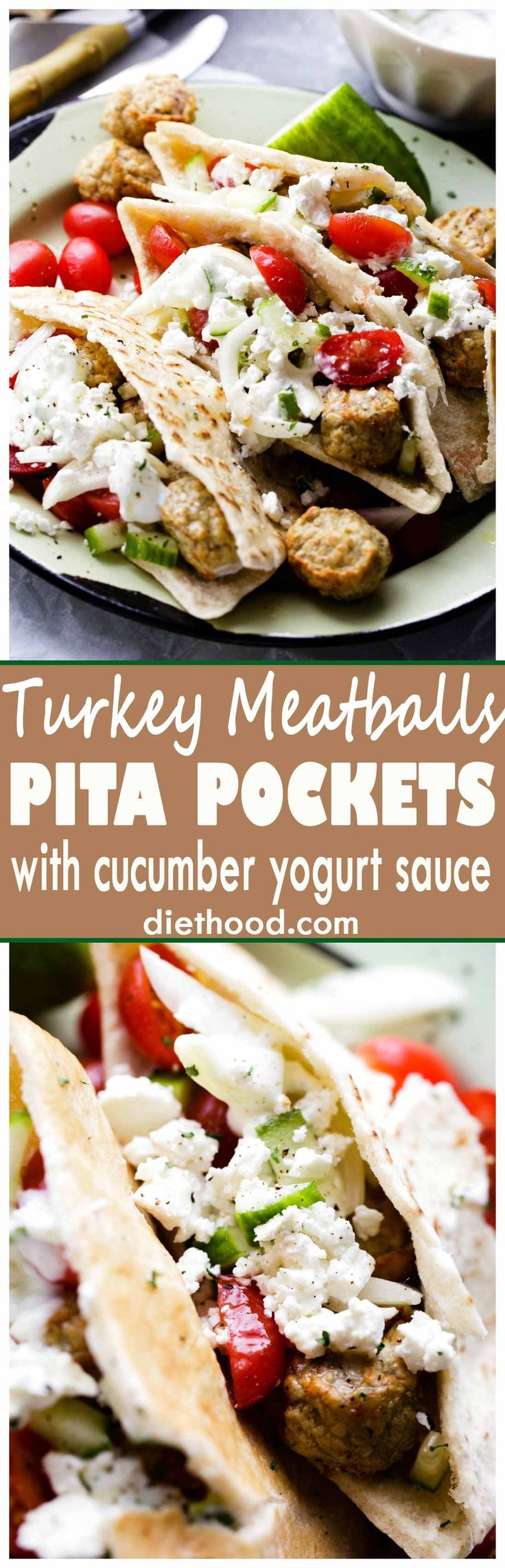 Turkey Meatballs Pita Pockets with Cucumber Yogurt Sauce – Juicy and delicious turkey meatballs served in warm pita pockets filled with a garlicky cucumber sauce and topped with a tomatoes and feta cheese salad.