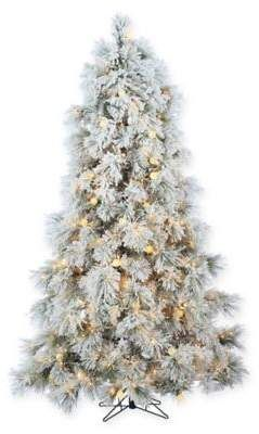 bed bath beyond sterling 75 foot pre lit flocked arctic pine christmas tree