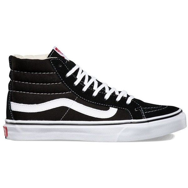 Vans Sk8-Hi Slim ($65) ❤ liked on Polyvore featuring shoes, sneakers, black, vans high tops, lace up sneakers, lace up shoes, vans trainers and high top shoes