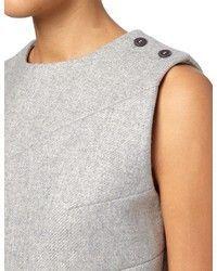 Carven Grey Wool Sleeveless Shift Dress