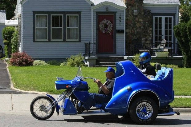 A unique trike makes its way north on Junction Avenue in Sturgis on Monday, August 9, 2010, during the Sturgis motorcycle rally. (Ryan Soderlin/Journal staff) #sturgis #SouthDakota