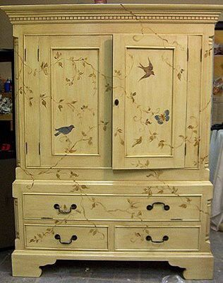 Gorgeous cream colored hutch with birds...