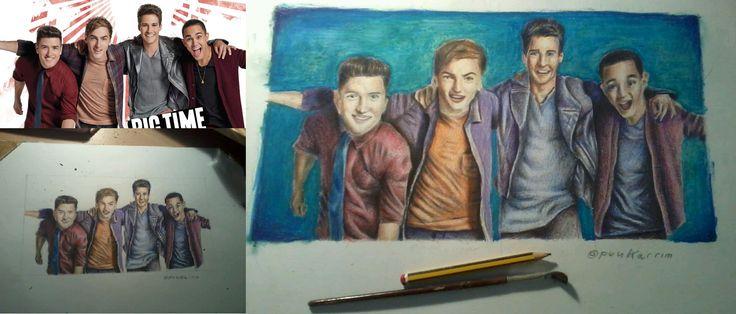 Ritratto della Big Time Rush band per una fan. #bigtimerush #fanart #fan #art #loaded #completato #portrait #ritratto #pencil #matite #colours #colori #crayon #brush #drawing #disegno #poster