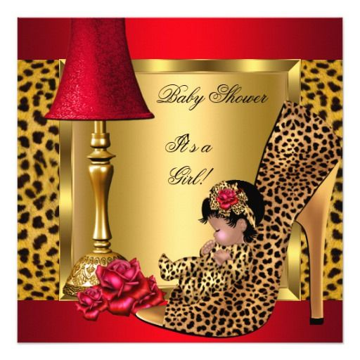 Baby Shower Girl Red Gold Roses Leopard Shoe AA Card