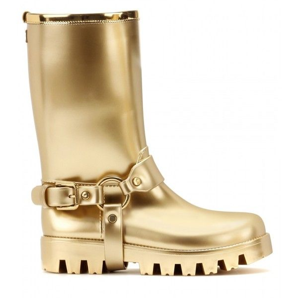 Dolce & Gabbana Rain Boots Rubber Boots ($675) ❤ liked on Polyvore featuring shoes, boots, dolce&gabbana, wellies shoes, wellington boots, rubber boots and gold shoes