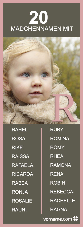 Rosa, Rahe und Ragna gefallen Dir? Hier findest Du noch mehr Namen, die mit einem R beginnen sowie ihre Herkunft und Bedeutung!