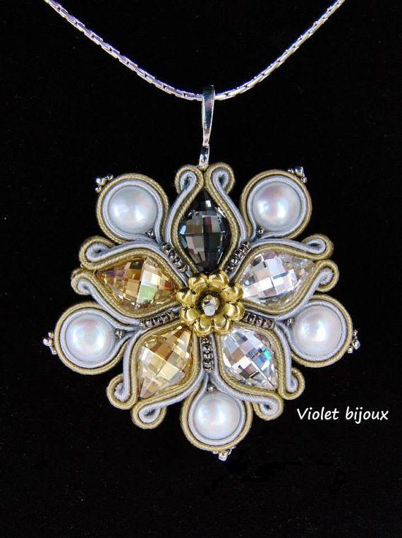 Soutache Pendant  Fleur Lotus by Violetbijoux on Etsy, $79.00