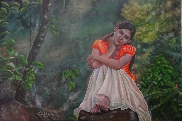 THE GIRL IN ORANGE DRESS, 36 & 24 Inches, Oil on Canvas, A place with bunch of trees and rocks are very hard to find. She found one such place and the best part is she is hanging out by herself. Of course when you are in such a natural environment would a company be absolutely necessary?