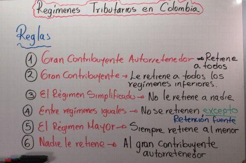 Reglas de Oro de Descuento de los Reímenes Tributarios en Colombia