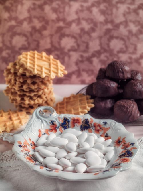 Comfort Food from Abruzzo - Sugared Almonds (confetti) from Sulmona, waffle-like biscuits (ferratelle) and chocolate covered  almond cakes (parrozzini)
