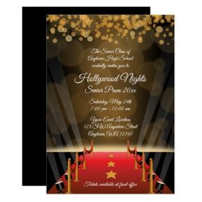 Hollywood Red Carpet Prom Formal Invitations $2.05 by printcreekstudio - cyo customize personalize diy idea