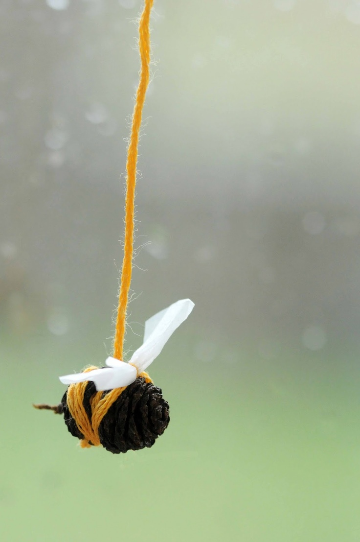 Sweet little alder bee craft - pinecone, wool and netting - cute :)