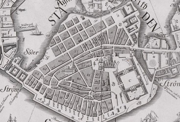 """Tillaeus karta över """"Staden"""" (idag, Gamla Stan, Stockholm) med kvarterens numrering 1733 (norr är till höger)."""