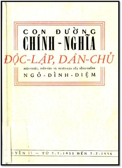 Con Đường Chính Nghĩa-Độc Lập, Dân Chủ Quyển II (NXB Sài Gòn 1958) - Ngô Đình Diệm, 223 Trang   Sách Việt Nam