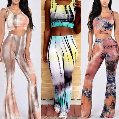 Womens 2 Pcs Set Tie Dye Flared Trousers High Waist Wide Leg Long Pants Bottoms in Clothing, Shoes & Accessories, Women's Clothing, Pants | eBay