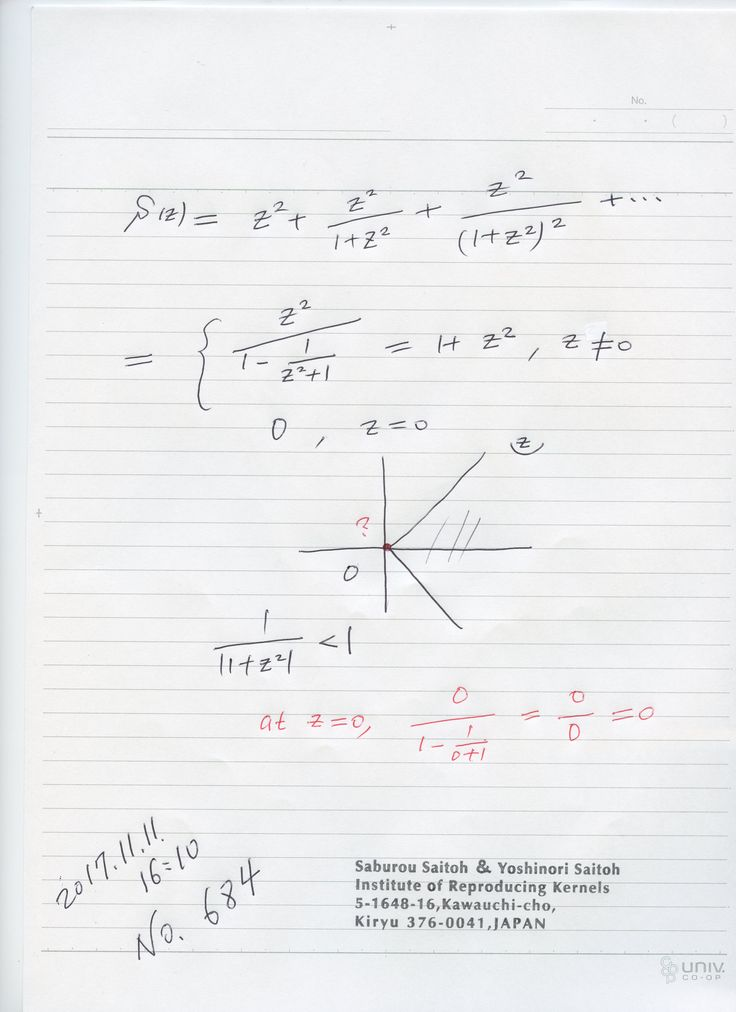 №684:  関数にゼロ除算を適用するとき、ローラン展開を用いれば関数に対して、一意に特異点での値を指定できますが、 万能ではなく、場合、場合で結果を吟味して、結果の意味を考え、利用することが 大事です。 図の場合、分数を計算したものは、ゼロ除算の立場では成り立ちません。分数式では成り立っていて正しい結果が出ています。