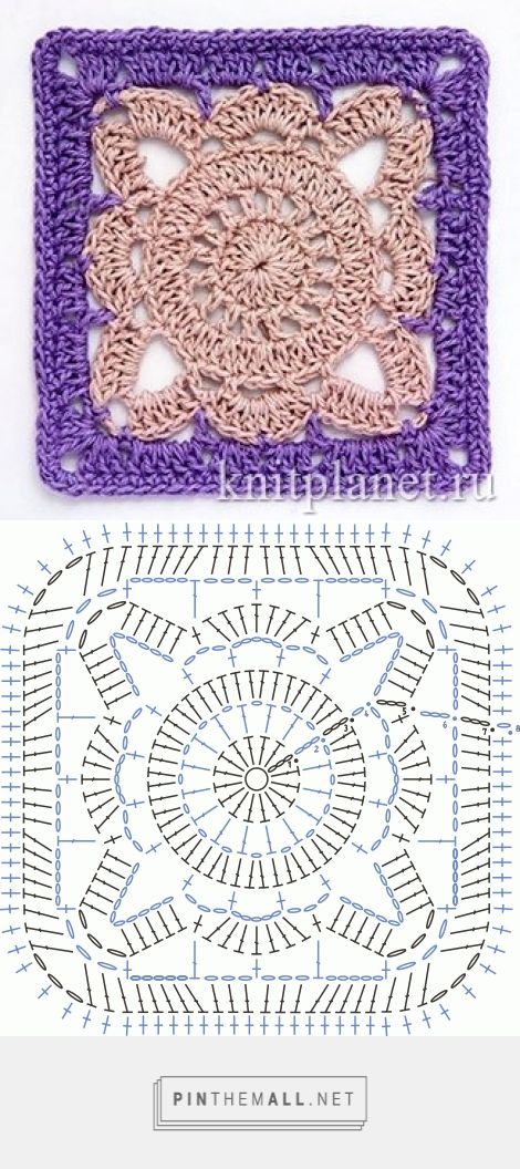 square motif - free crochet diagram - (knitplanet ... ebay purse diagram 8 squares purse diagram #3
